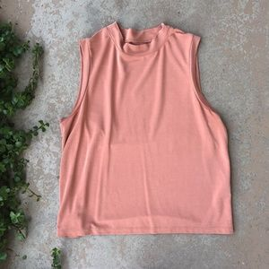 Madewell Mock Neck Orange Stretchy Crop Top